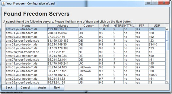 Select yourfreedoma servers