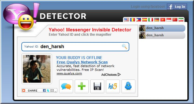 YmDetector Yahoo Messenger Invisible Detector Online Websites