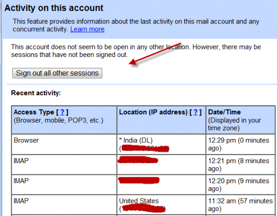 Gmail last account activity 550x429 3 Ways to Check if Gmail is Hacked