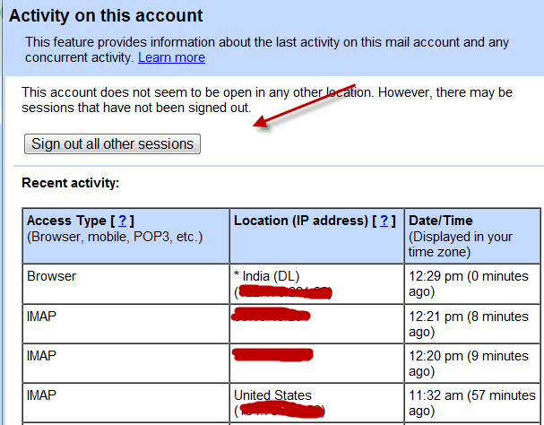 Gmail last account activity feature