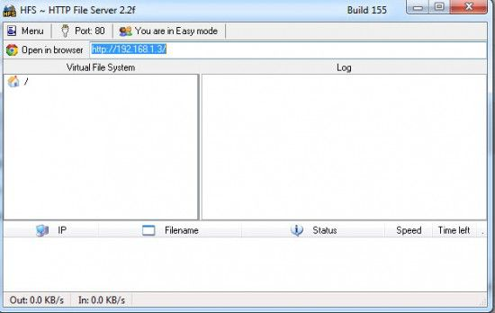 HFS Private Server 550x348 Create HTTP File Server in Single Click using HFS