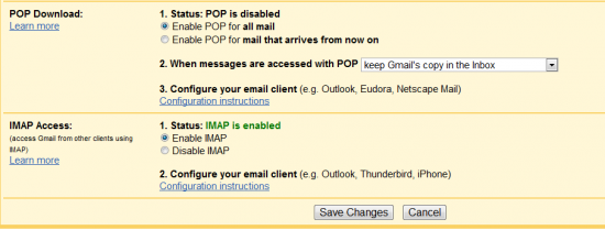 gmail pop IMAP 550x209 3 Ways to Check if Gmail is Hacked