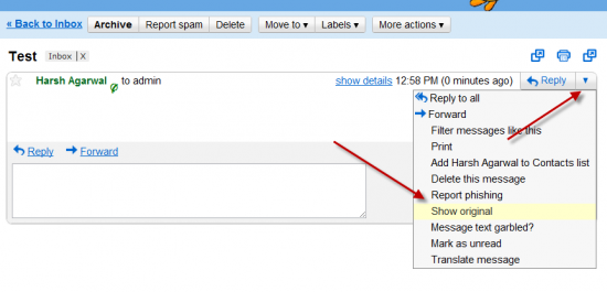 gmail show original 550x265 How to Trace Email Sender I.P in Gmail