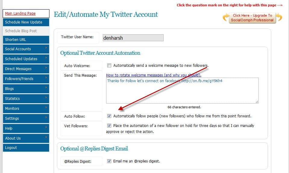 Automatically follow new followers Auto Follow Twitter Users using Free Twitter Service