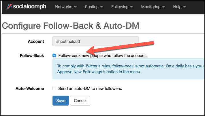 Auto Follow Twitter Users Setup