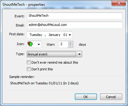 seting up reminder Birthday Reminder Software : Freeware Utility
