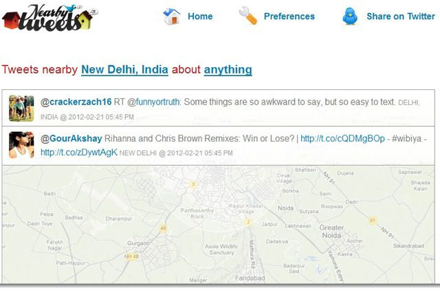 Nearbytweets Nearbytweets : Find Twitter users Tweeting Across the Street