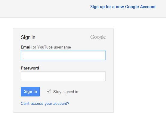 Youtube Login Page