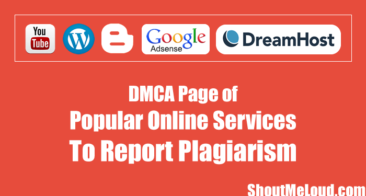DMCA Page of Popular Online Services To Report Plagiarism