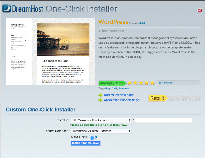 Dreamhost One click WordPress Blog Installation