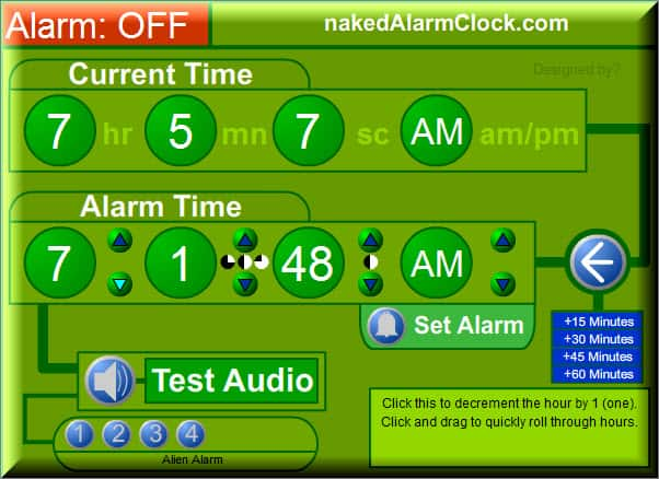 NakedAlarmClock Useful Free Online Alarm Clock Websites
