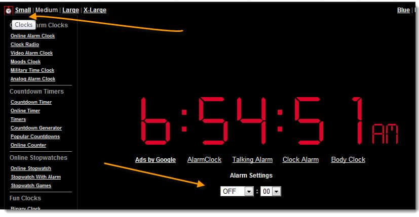OnlineClock Useful Free Online Alarm Clock Websites