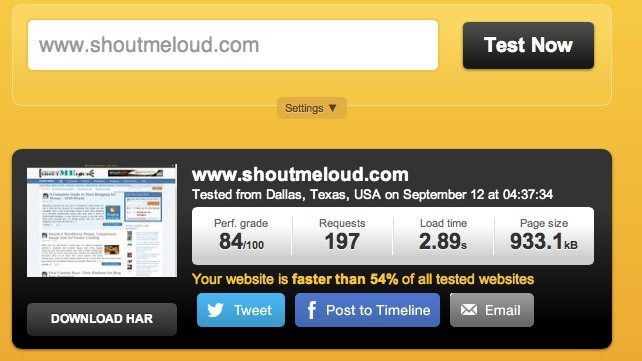 Pingdom page loading time 2 Awesome Websites to Check Your Blog Loading Time