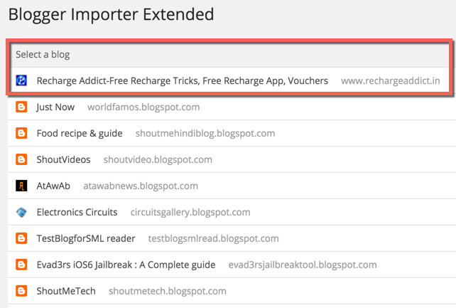 Select BlogSpot blog to import