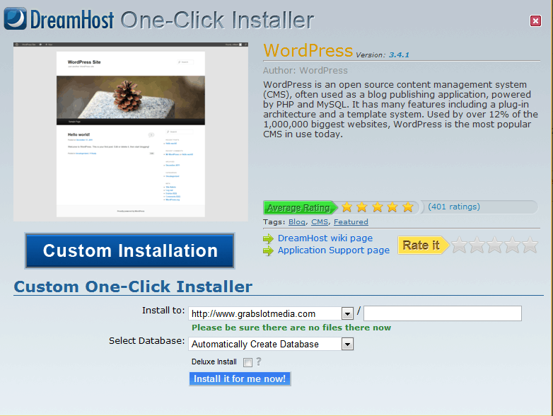dreamhost Install WordPress