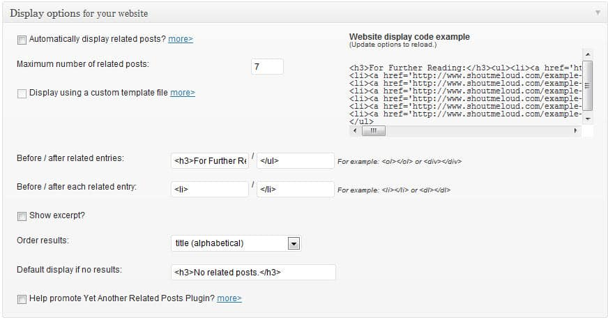 Related post WordPress plugin Setting
