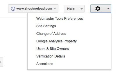 site settings Webmaster tool