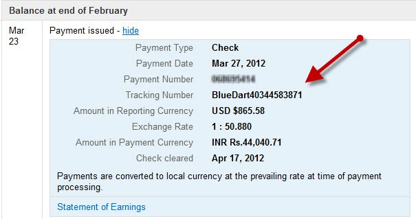 Adsense Payment track India How to use Blue Dart Tracking for Adsense Payment?