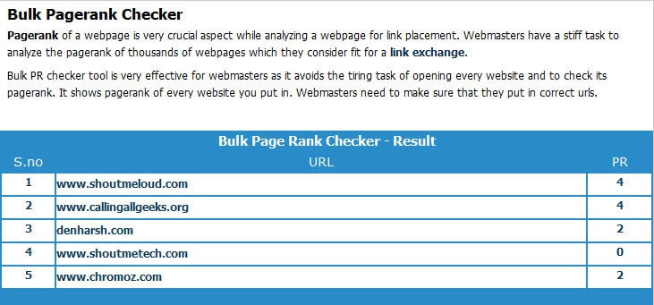 Bulk Pagerank checker How to Check Google Page Rank in Bulk