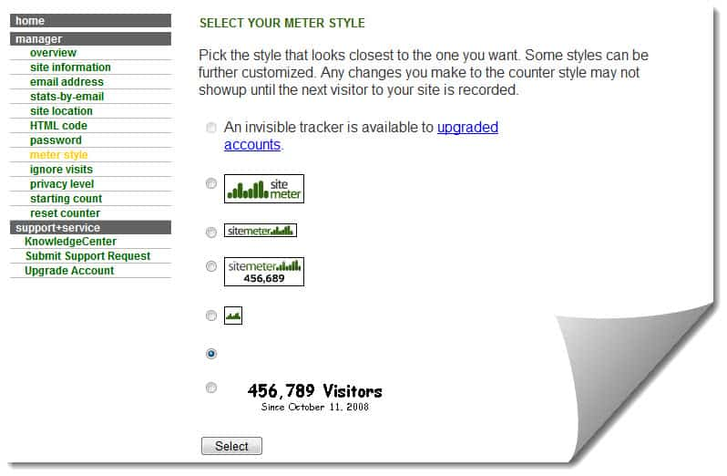 Counter Meter Style SiteMeter : Real Time Website Visitors Tracking