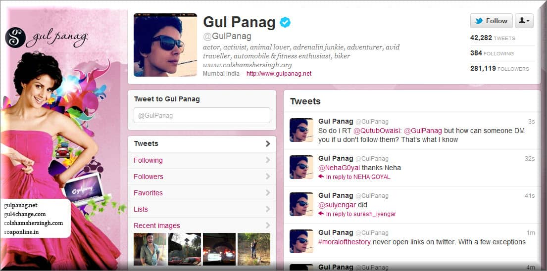 Gul Panag Twitter Lets Follow BollyWood Twitter Users : List