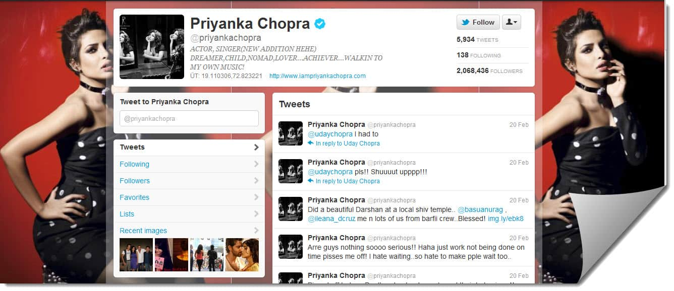 Sexy Twitter Cleb Priyanka Lets Follow BollyWood Twitter Users : List