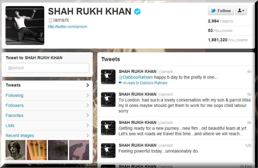 Shahrukh Khan Twitter Lets Follow BollyWood Twitter Users : List