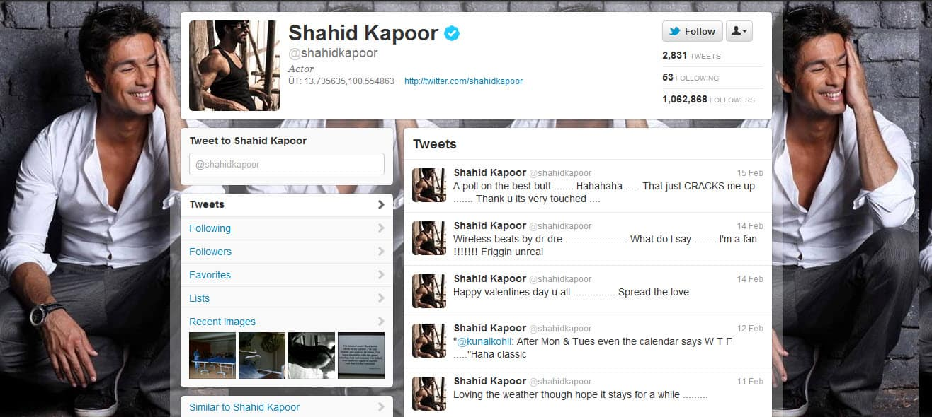 shahidkapoor Lets Follow BollyWood Twitter Users : List