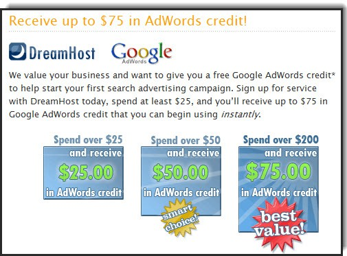 Dreamhost Free $75 Google Adwords Credit