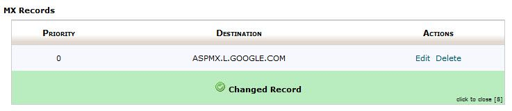 Google Apps MX record