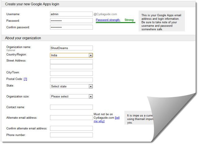 Google Apps sign in