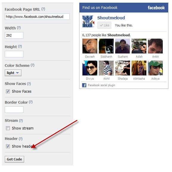 Facebook Fan page widget