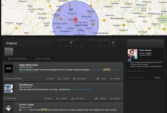 Find Twitter users baed on location