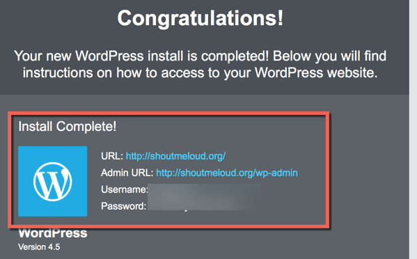 WordPress Installed on HostGator