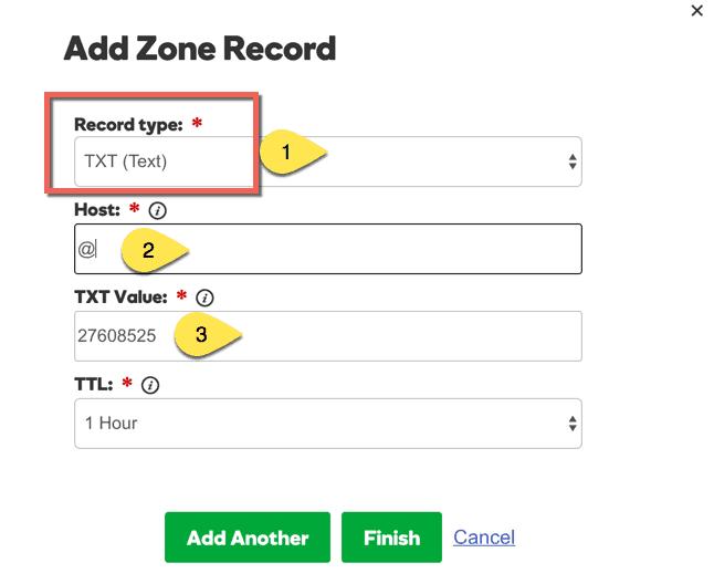 Add TXt record Godaddy Domain