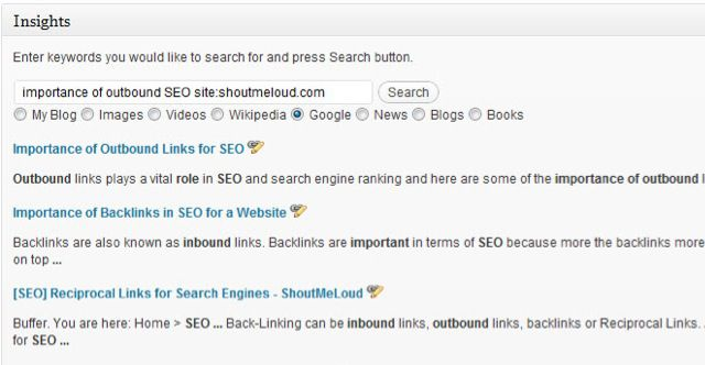 WordPress Inisights plugin WordPress Insights Plugin : Quickly Interlink Blog Post