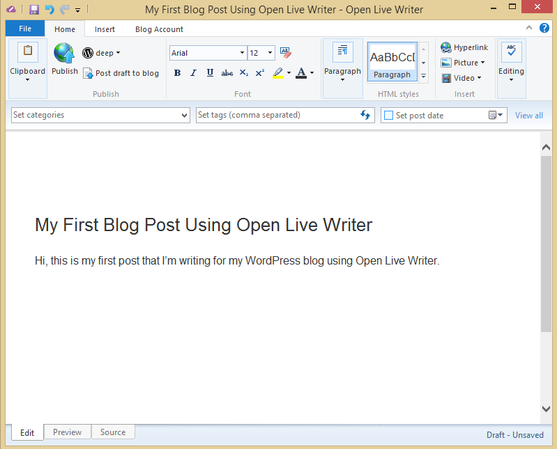 Blog Post With Open Live Writer