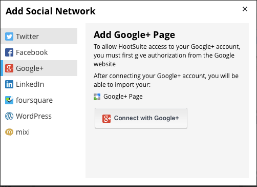 Add Social network to Hootsuite