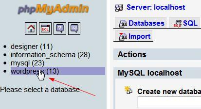 Wordpress Data base