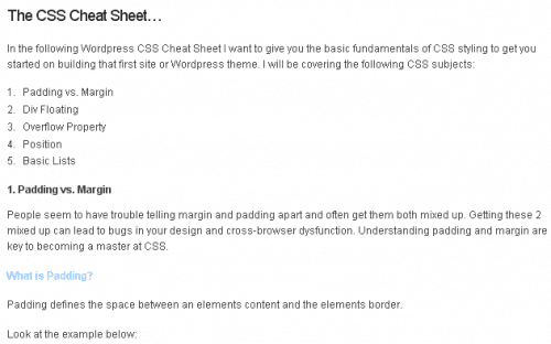 Wordpress CSS Cheat Sheet 500x312 15 Best WordPress Cheat Sheet For Designers And Developers