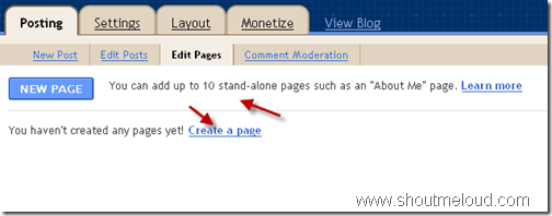 Blogspot Added Much Needed Pages Option