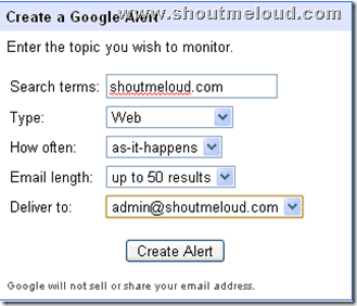creating google alert thumb Use Google Alert to Monitor What People are talking about you Online