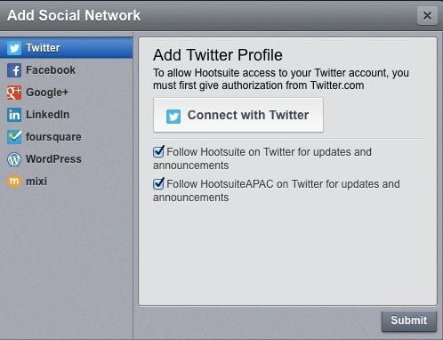 supported social network by hootsuite