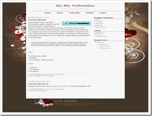 Be My Valentine Blogger Template