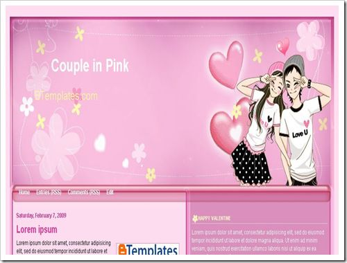 CoupleinPinkBloggerTemplate thumb 16 Best Free Valentine Blogger Templates