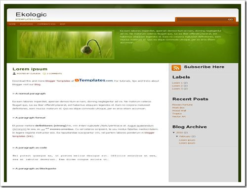 EkologicBloggerTemplate thumb 30+ Best Magazine Style Blogger Templates of 2010