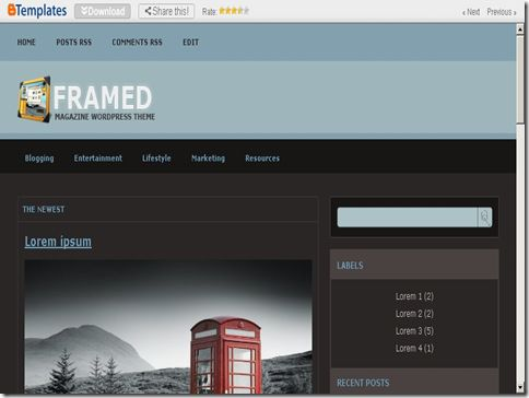 Framed Magazine Blogger Template