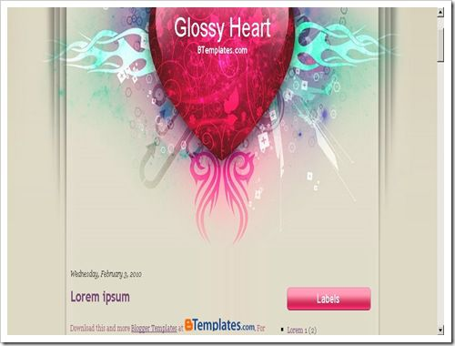 Glossy Heart Blogger Template