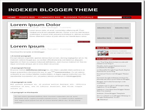 Indexer Blogger Template
