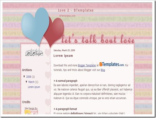 Love2BloggerTemplate thumb 16 Best Free Valentine Blogger Templates